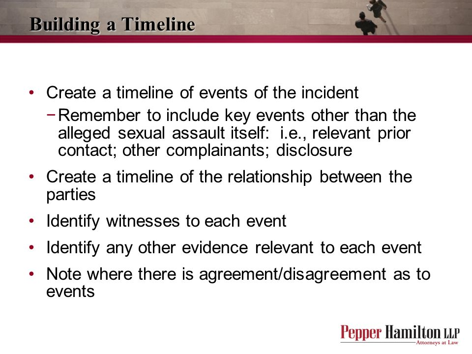 Building a Timeline Create a timeline of events of the incident