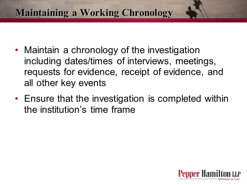 Maintaining a Working Chronology