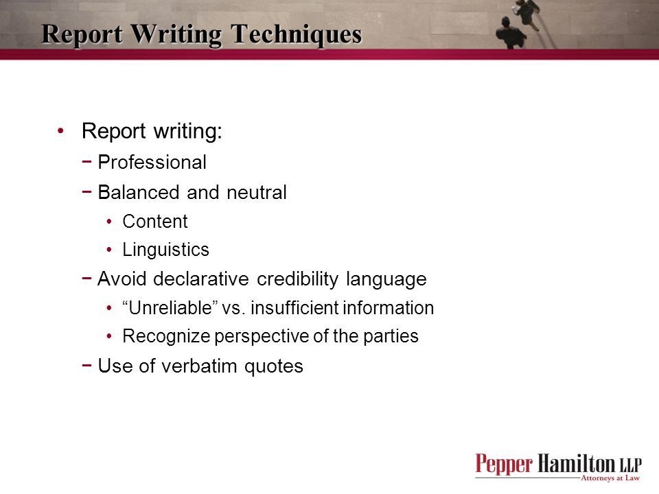 Report Writing Techniques