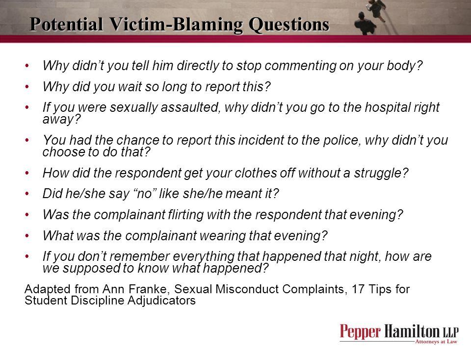 Potential Victim-Blaming Questions