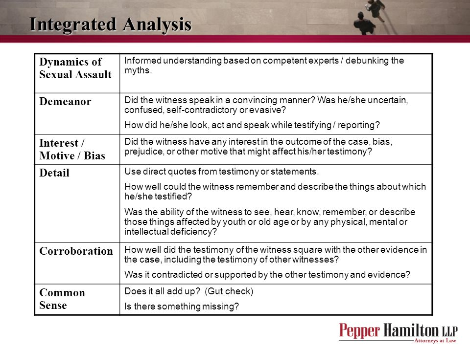 Integrated Analysis Dynamics of Sexual Assault Demeanor