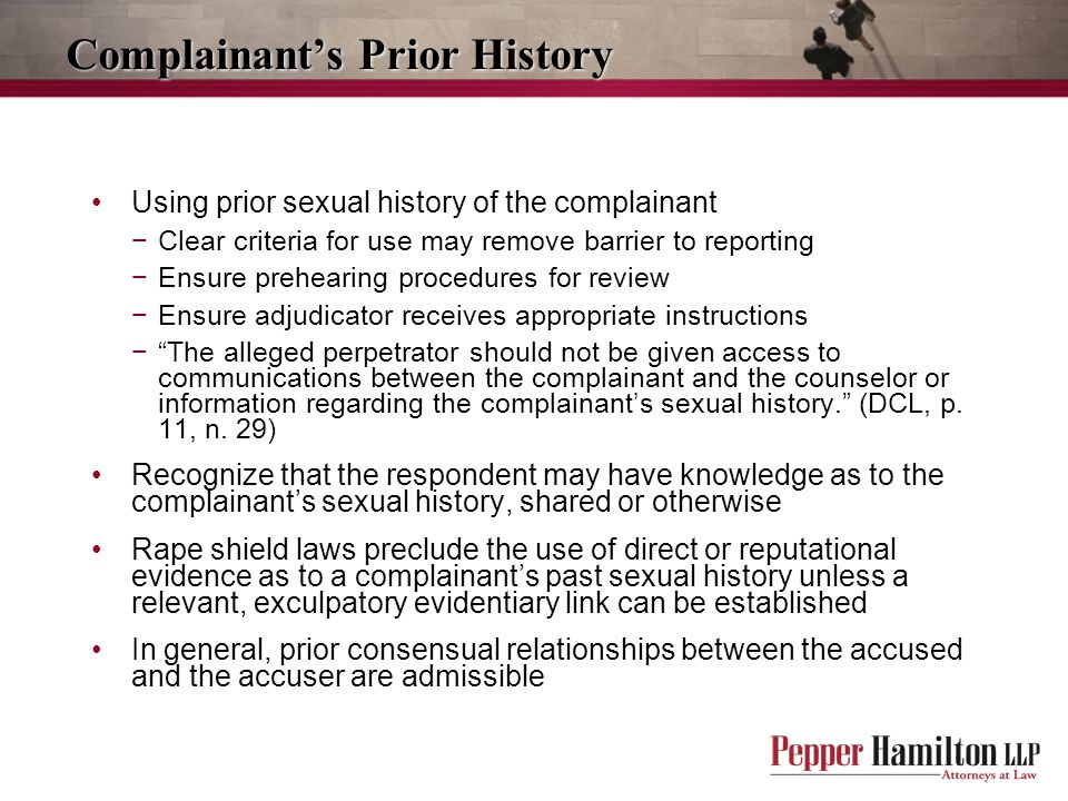Complainant's Prior History