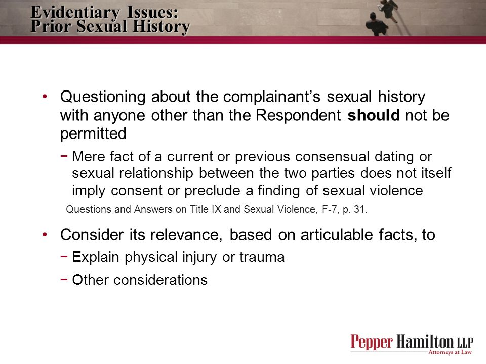 Evidentiary Issues: Prior Sexual History