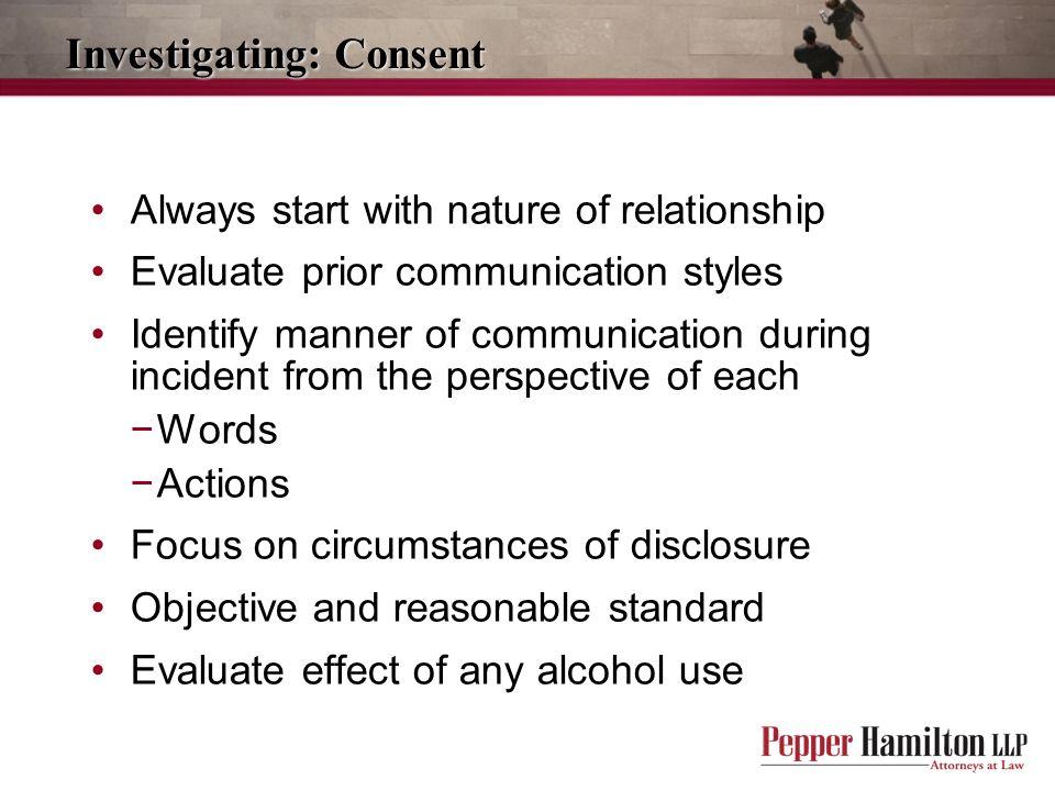 Investigating: Consent