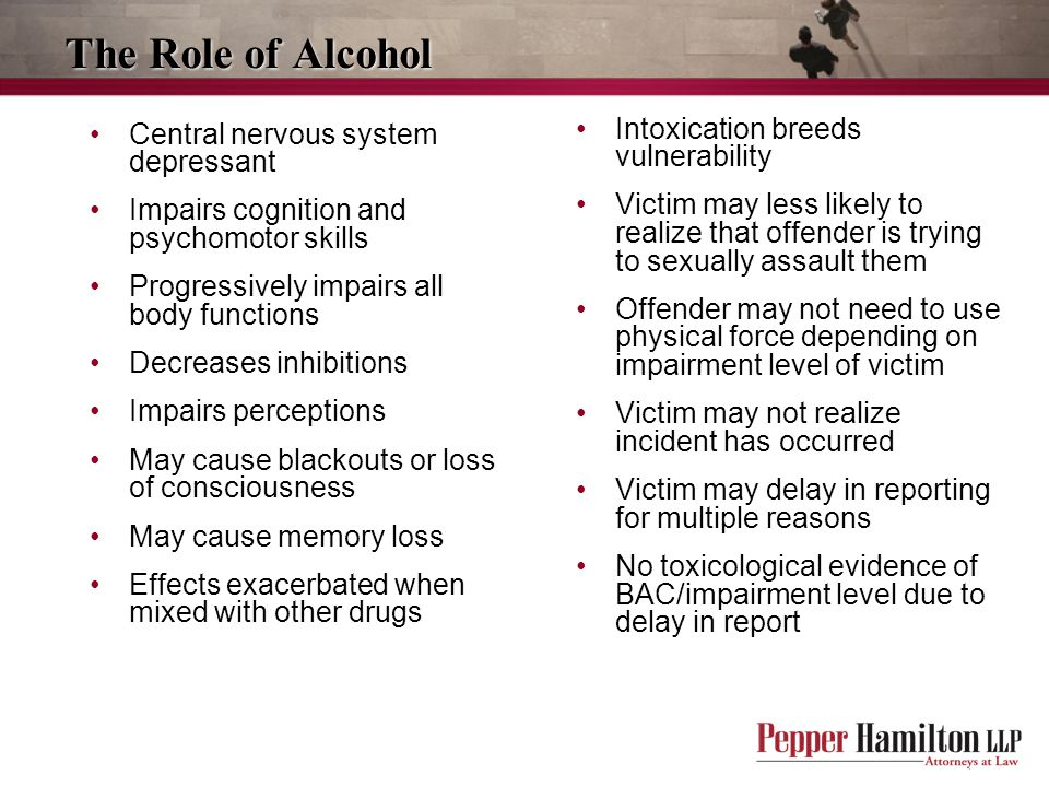 The Role of Alcohol Intoxication breeds vulnerability