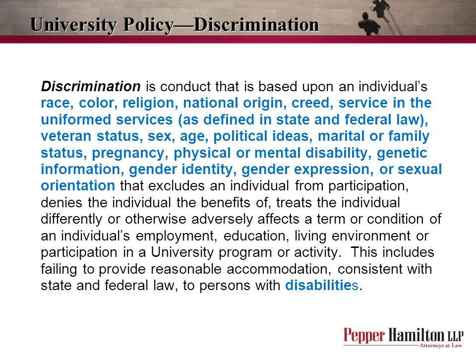 University Policy—Discrimination