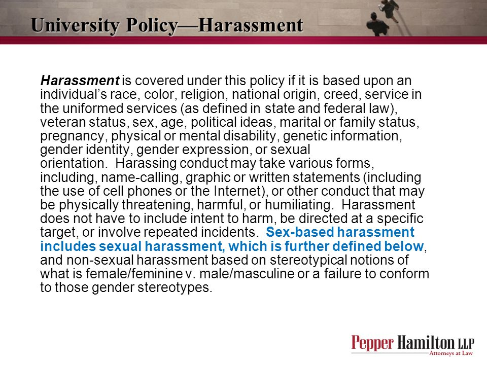 University Policy—Harassment