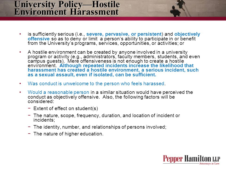 University Policy—Hostile Environment Harassment