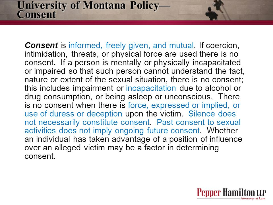 University of Montana Policy—Consent
