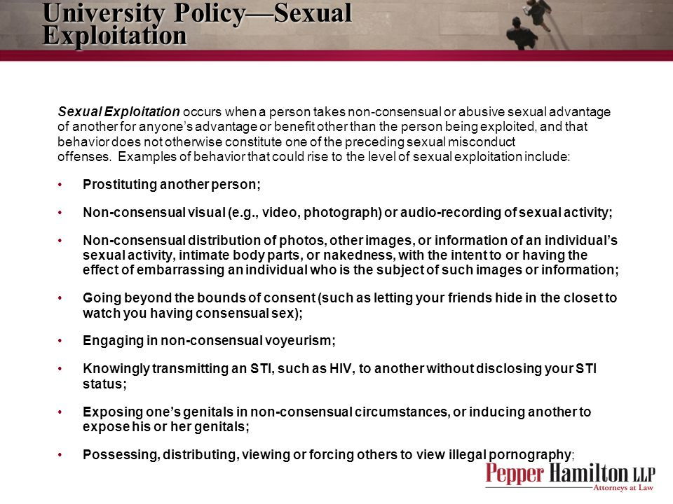 University Policy—Sexual Exploitation