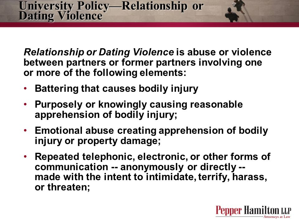University Policy—Relationship or Dating Violence