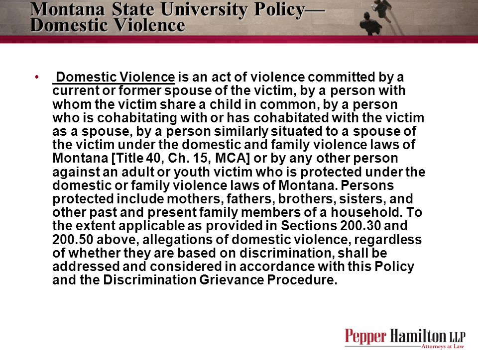 Montana State University Policy—Domestic Violence