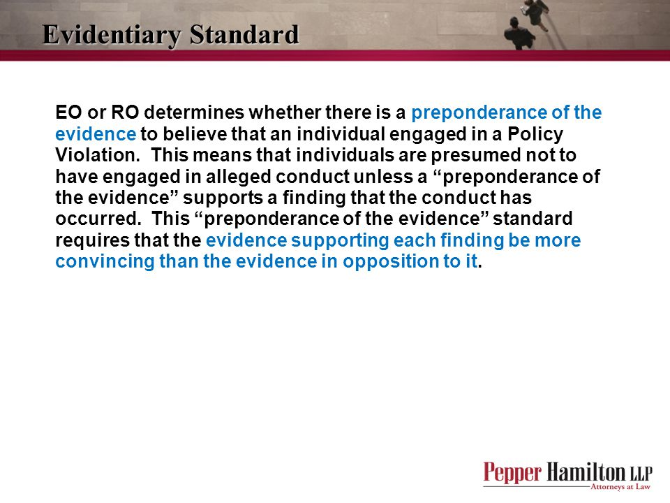 Evidentiary Standard