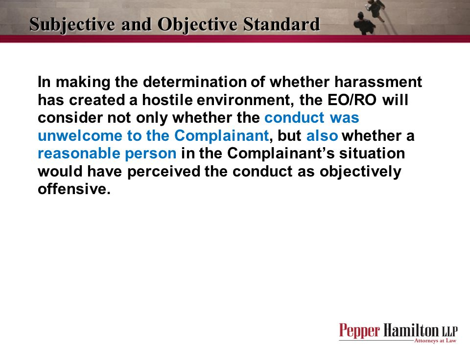 Subjective and Objective Standard