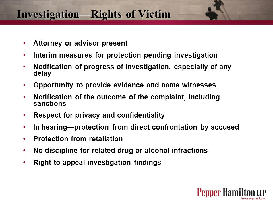 Investigation—Rights of Victim