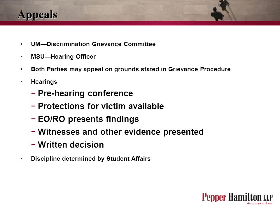 Appeals Pre-hearing conference Protections for victim available