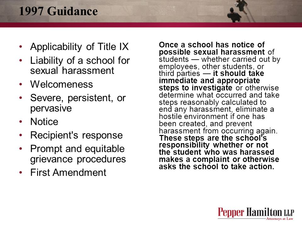 1997 Guidance Applicability of Title IX