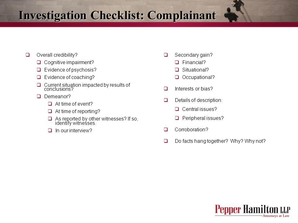 Investigation Checklist: Complainant