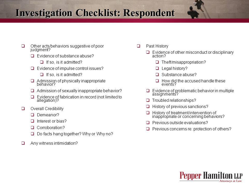 Investigation Checklist: Respondent