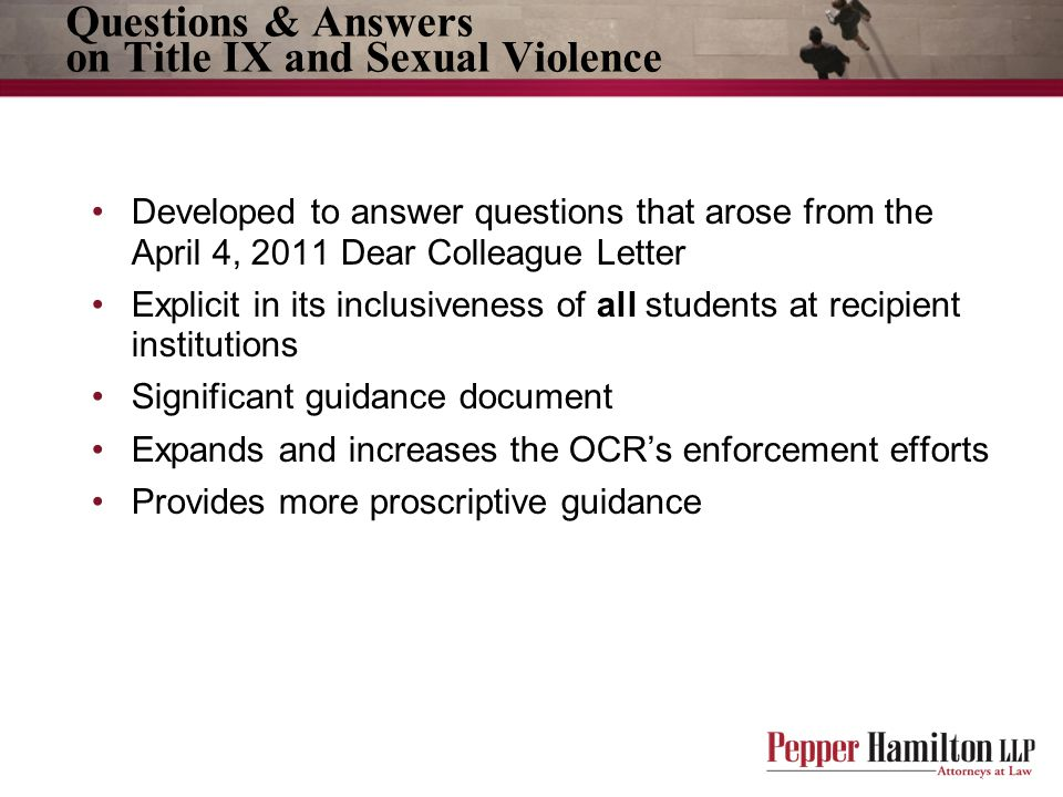 Questions & Answers on Title IX and Sexual Violence