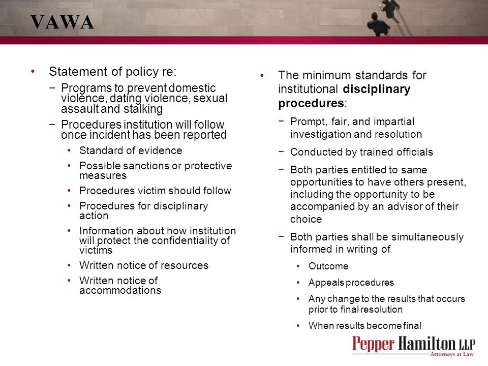 VAWA Statement of policy re: