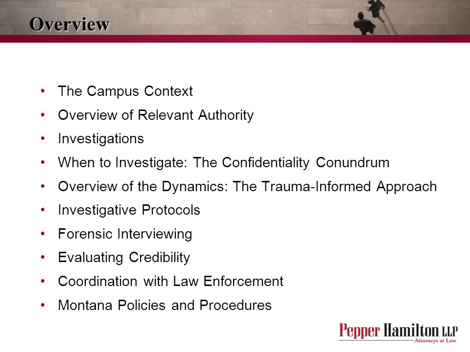 Overview The Campus Context Overview of Relevant Authority