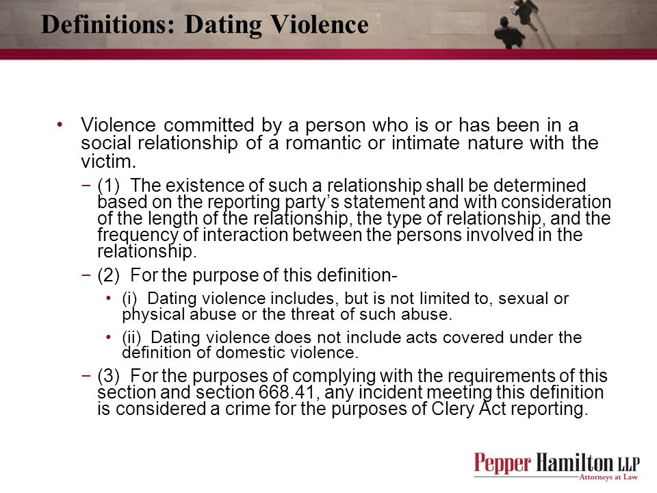 Definitions: Dating Violence