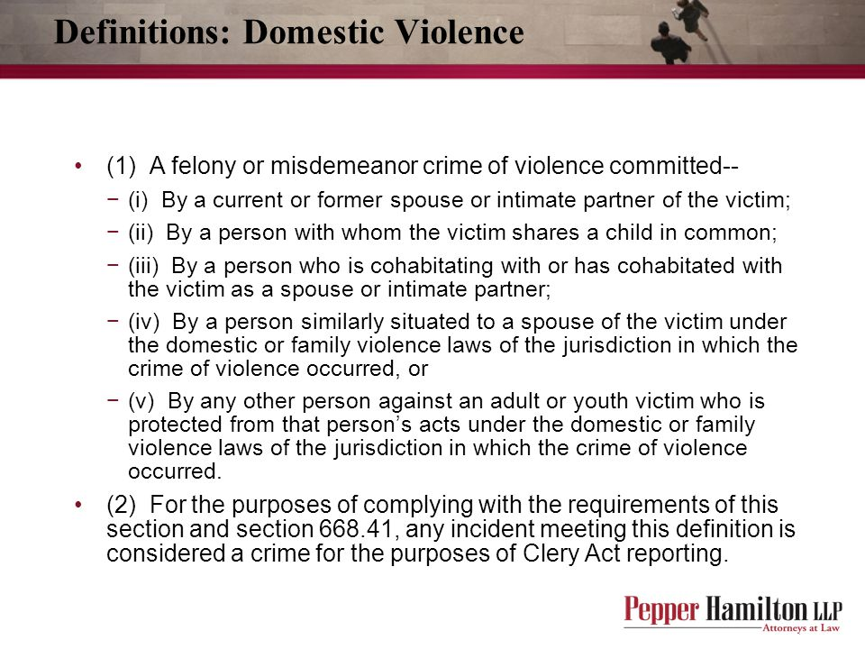 Definitions: Domestic Violence