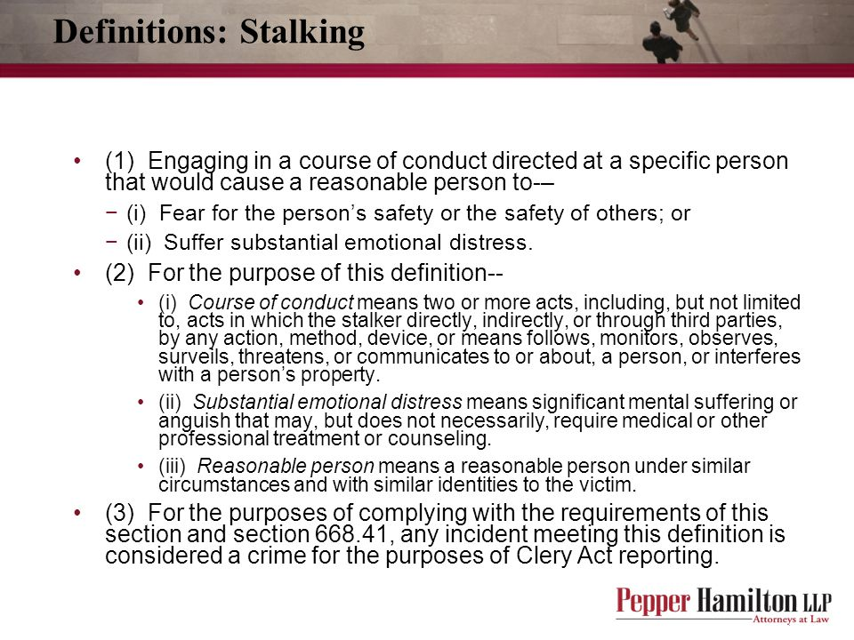 Definitions: Stalking