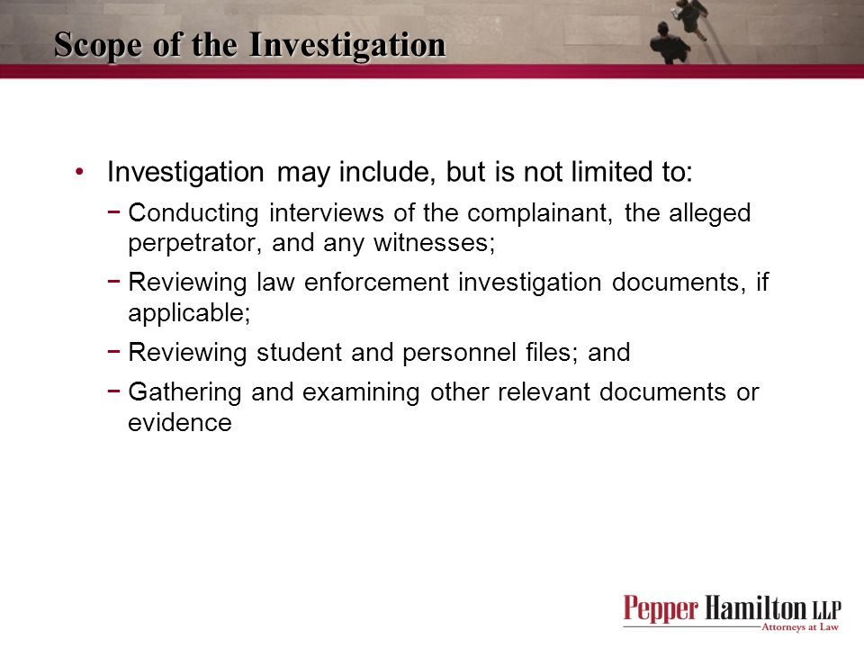 Scope of the Investigation