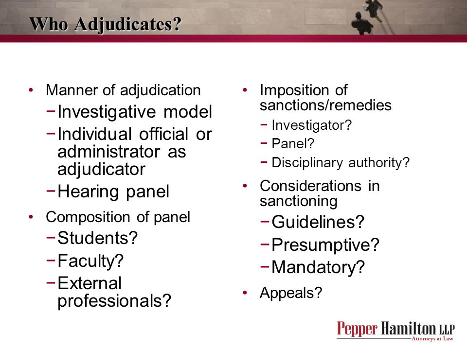 Who Adjudicates Investigative model