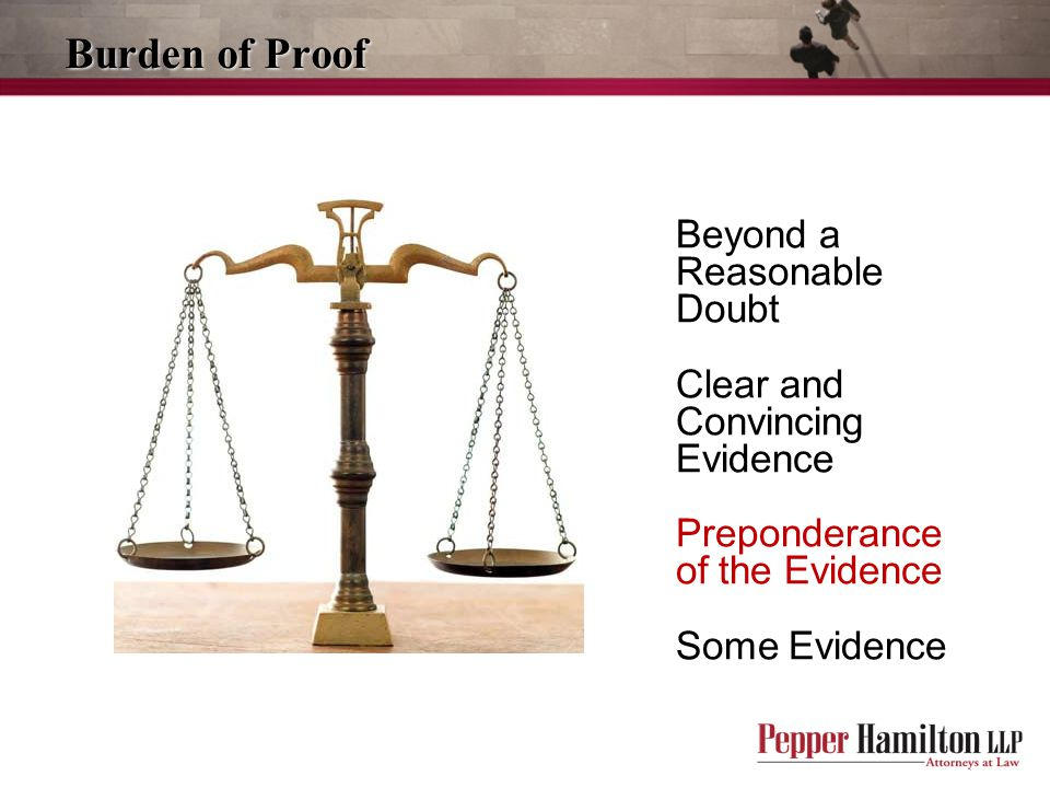 Beyond a Reasonable Doubt Clear and Convincing Evidence