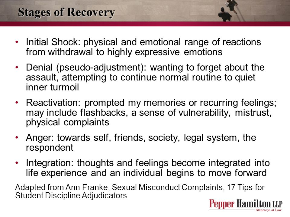 Stages of Recovery Initial Shock: physical and emotional range of reactions from withdrawal to highly expressive emotions.