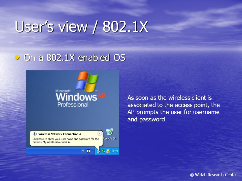 User's view / 802.1X On a 802.1X enabled OS