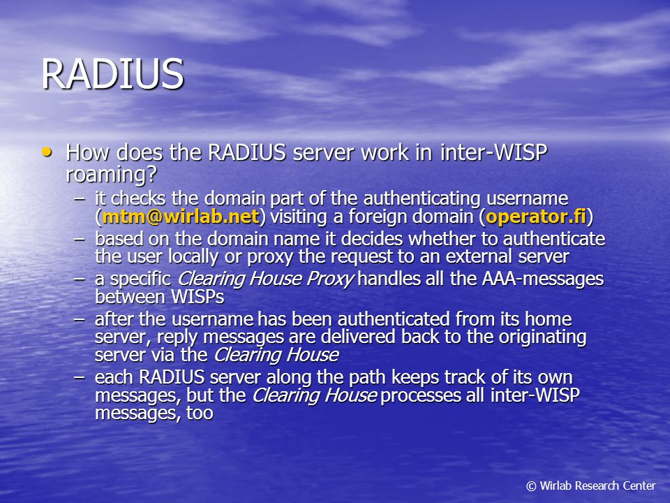 RADIUS How does the RADIUS server work in inter-WISP roaming