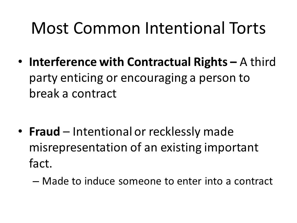 Most Common Intentional Torts