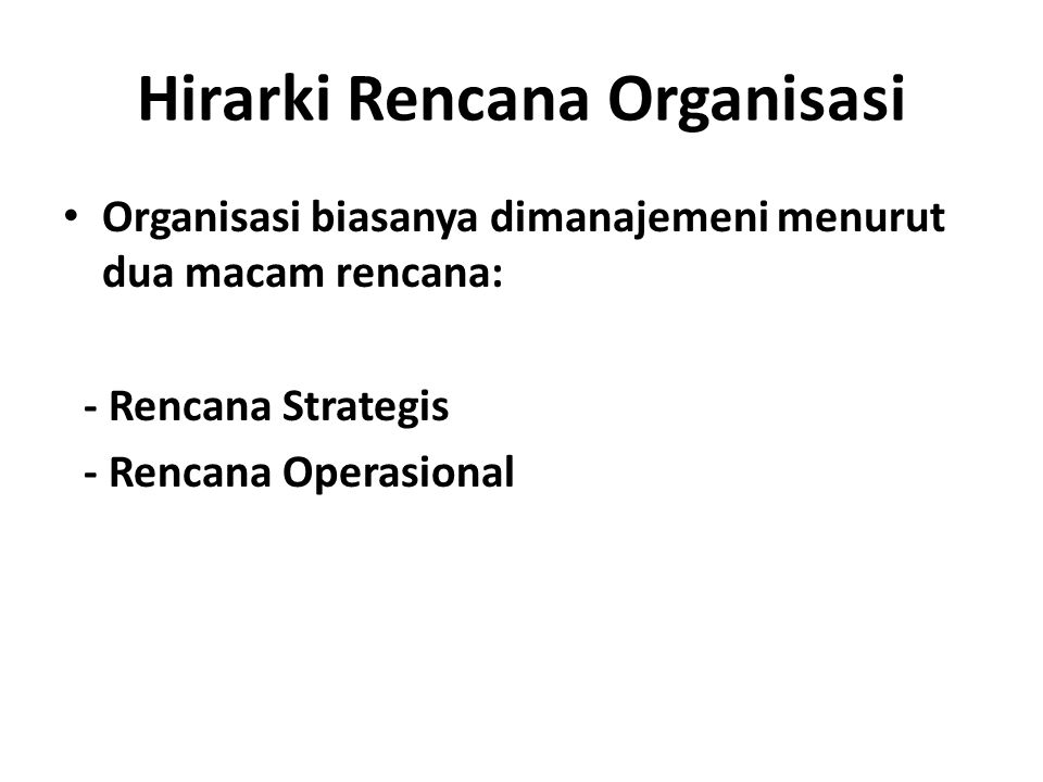 Hirarki Rencana Organisasi