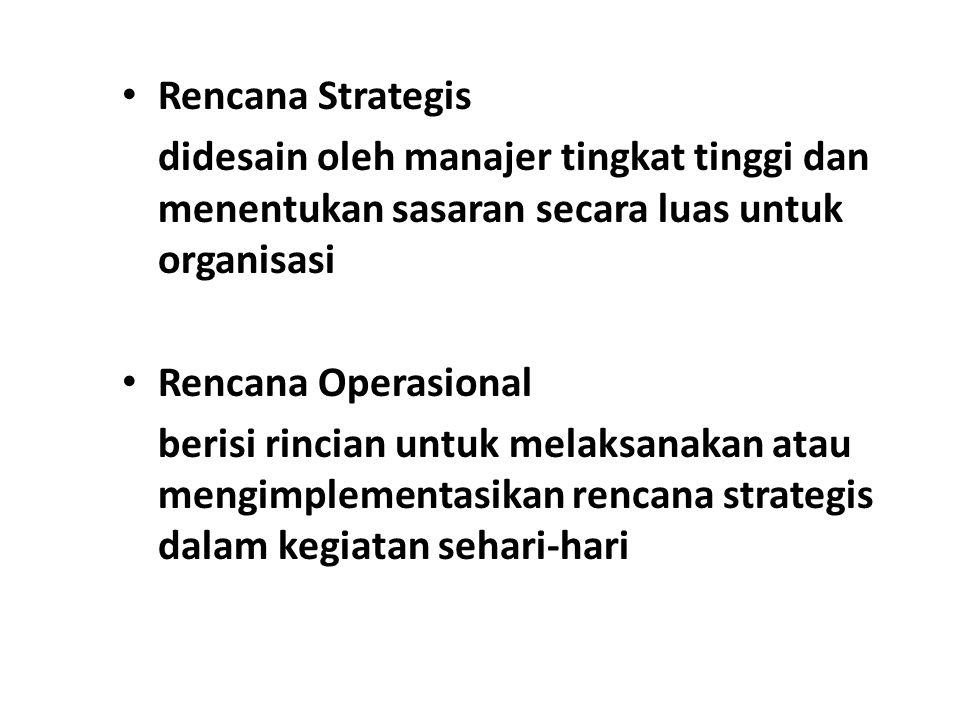 Rencana Strategis didesain oleh manajer tingkat tinggi dan menentukan sasaran secara luas untuk organisasi.