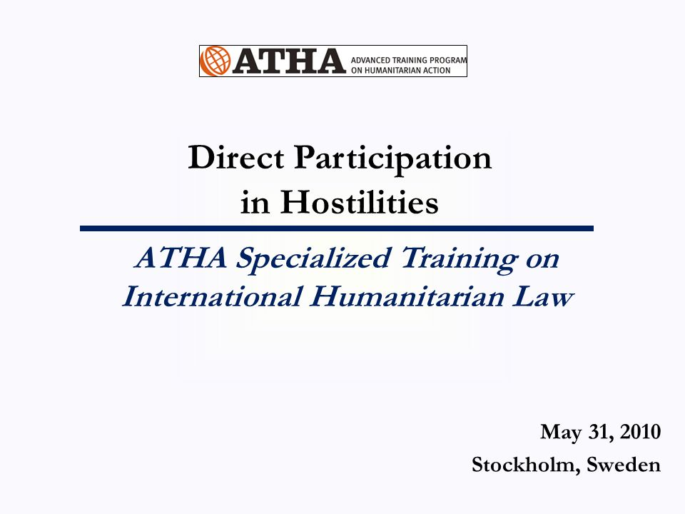 ATHA Specialized Training on International Humanitarian Law