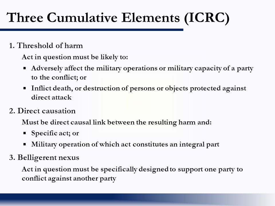 Three Cumulative Elements (ICRC)