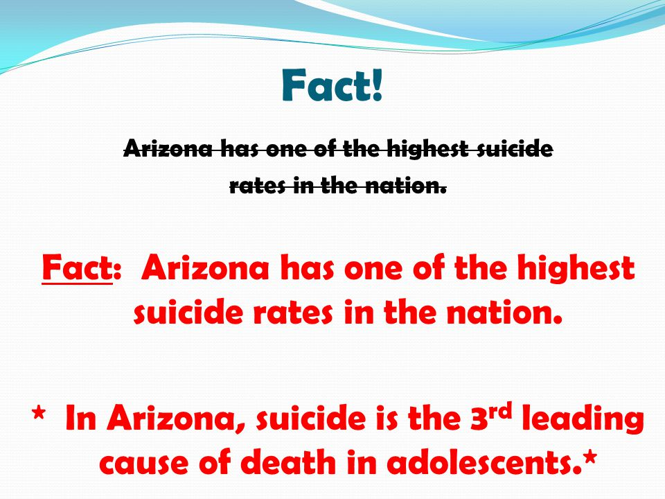 Fact! Arizona has one of the highest suicide. rates in the nation. Fact: Arizona has one of the highest suicide rates in the nation.