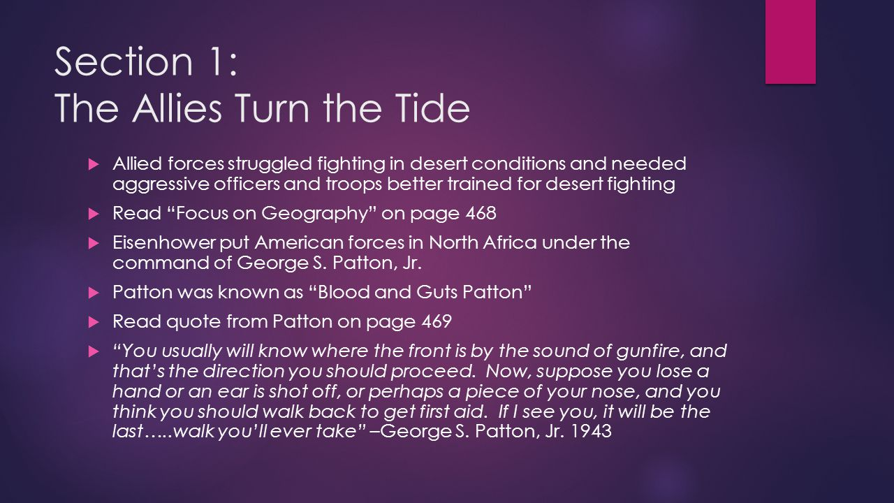 Section 1: The Allies Turn the Tide