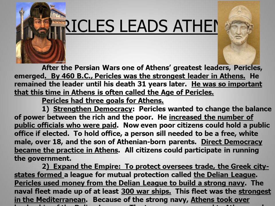 PERICLES LEADS ATHENS