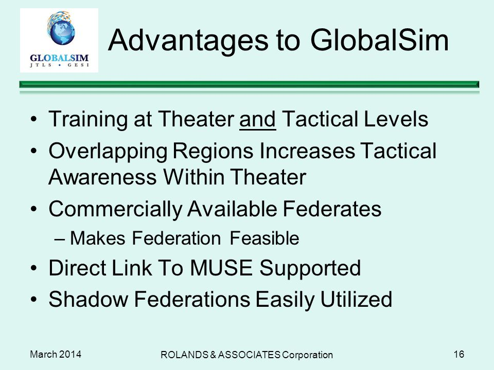 Advantages to GlobalSim