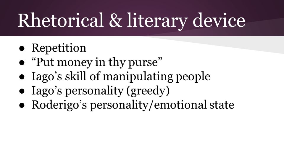 Rhetorical & literary device