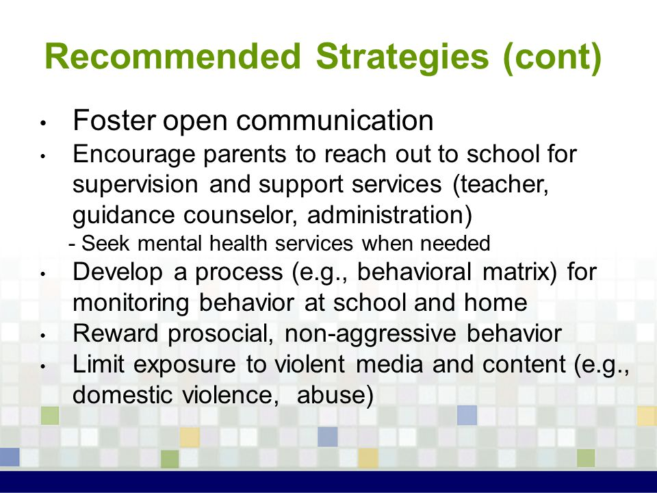 Recommended Strategies (cont)