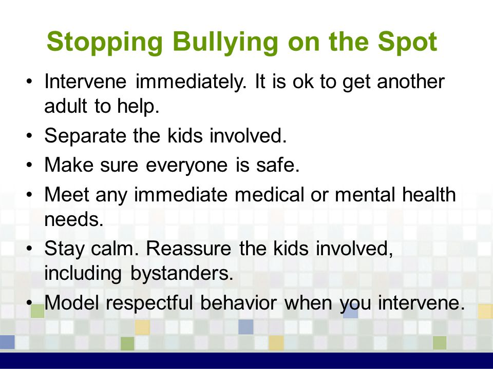 Stopping Bullying on the Spot