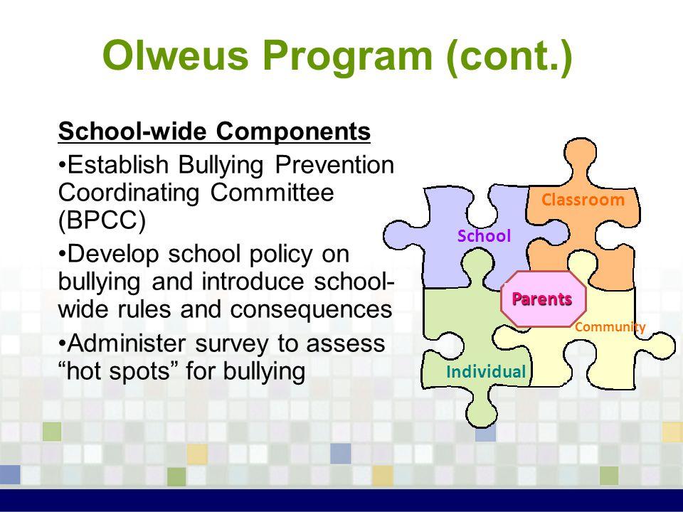 Olweus Program (cont.) School-wide Components