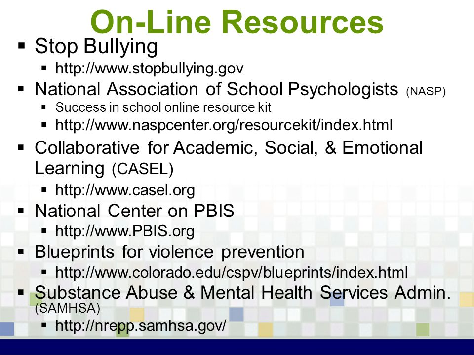 On-Line Resources Stop Bullying