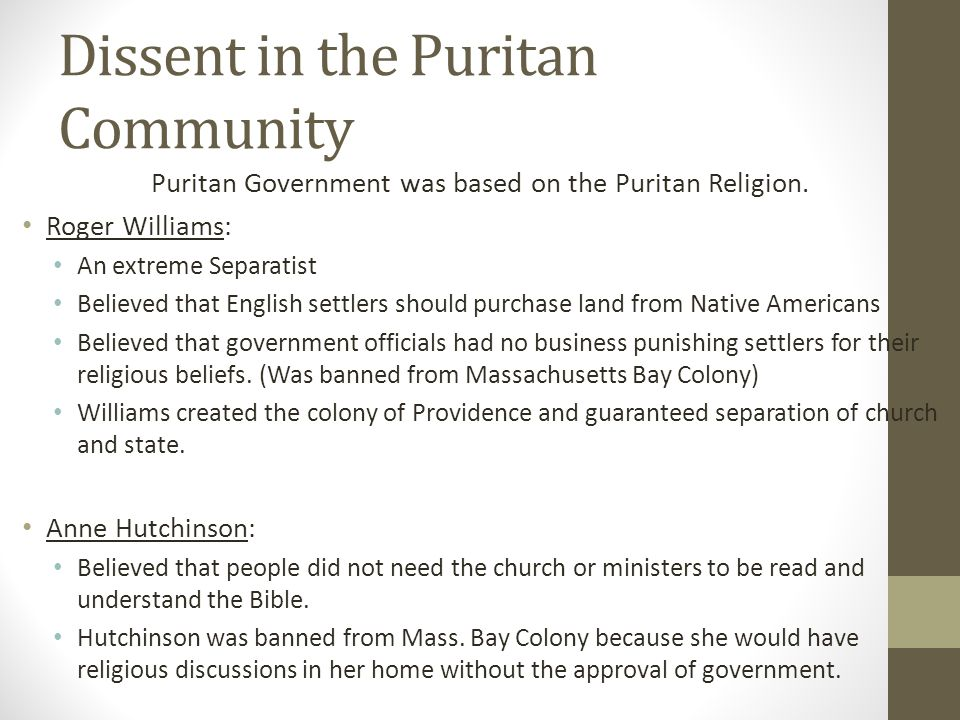 Dissent in the Puritan Community
